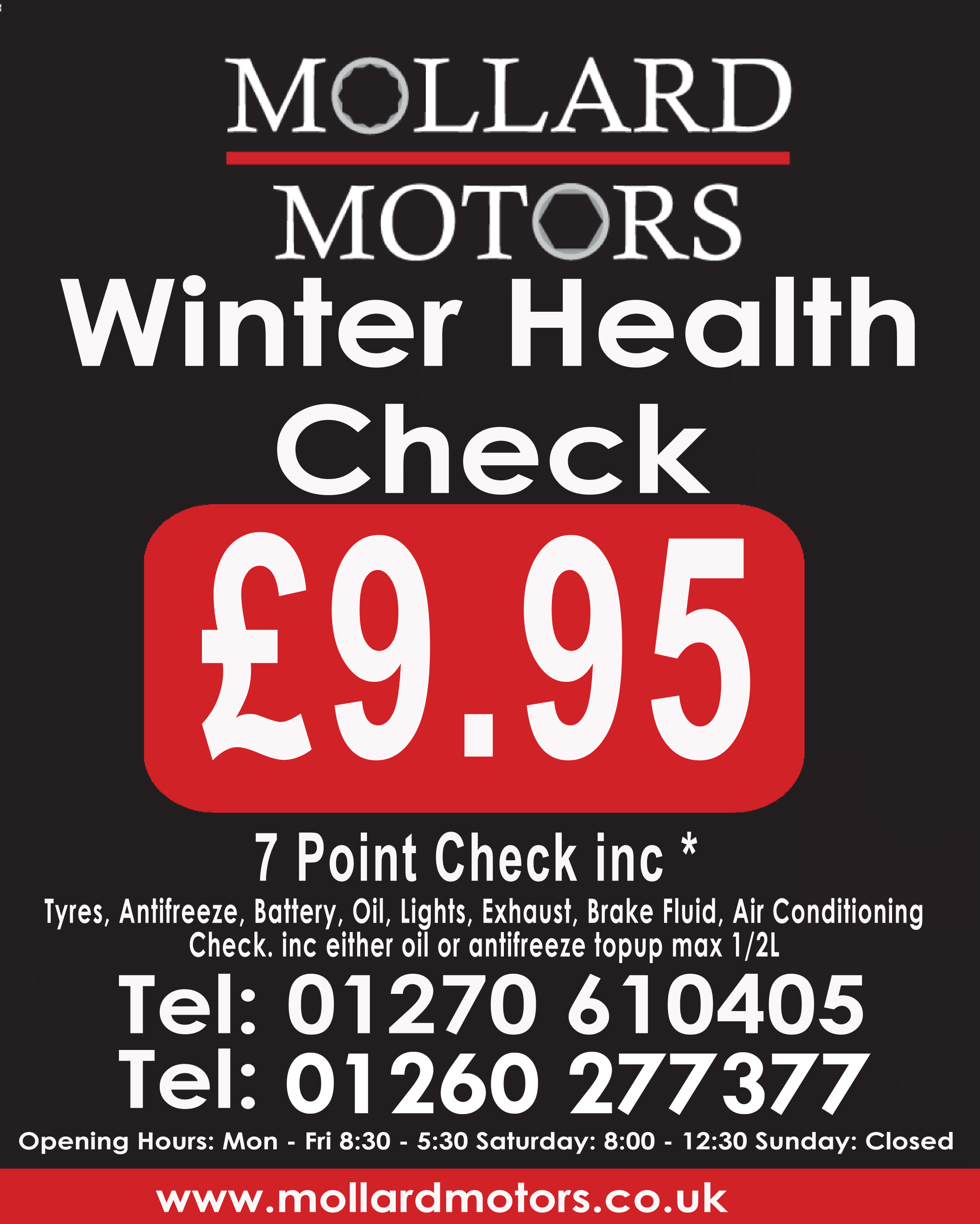 7 POINT WINTER HEALTH CHECK FROM £9.95